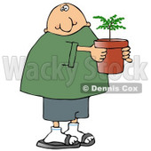 Man Holding a Small Tree Growing in a Pot Clipart Picture © Dennis Cox #11243