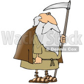 Old Bearded Man, Father Time, Holding a Scythe Clipart Picture © djart #11244