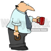 Businessman Holding a Cup of Coffee and a Donut Clipart Picture © djart #11246