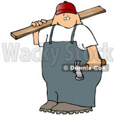 Male Carpenter Man Carrying Plywood and a Hammer Clipart Picture © djart #11249