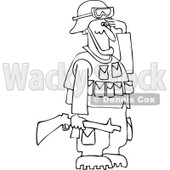 Cartoon Of An Outlined Army Soldier Holding A Gun And Saluting - Royalty Free Vector Clipart © Dennis Cox #1125276