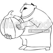 Cartoon Of An Outlined Chubby Man Holding A Large Halloween Pumpkin - Royalty Free Vector Clipart © djart #1125277