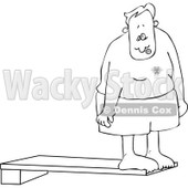 Cartoon Of An Outlined Nervous Man On A High Dive Board - Royalty Free Vector Clipart © djart #1125278