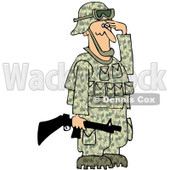 Cartoon Of An Outlined Army Soldier Holding A Gun And