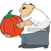 Cartoon Of A Chubby Man Holding A Large Halloween Pumpkin - Royalty Free Vector Clipart © djart #1125281