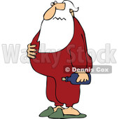 Cartoon Of A Sick Santa Holding His Sour Stomach And Medicine - Royalty Free Vector Clipart © djart #1125283