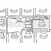 Cartoon Of An Outlined Dead Person In A Morgue - Royalty Free Vector Clipart © djart #1126032