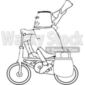 Cartoon Of An Outlined Paper Boy On A Bicycle - Royalty Free Vector Clipart © djart #1126034