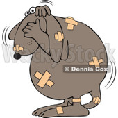 Cartoon Of A Battered Dog Covered In Bandages - Royalty Free Vector Clipart © djart #1126786