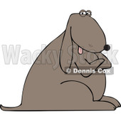 Cartoon Of A Stubborn Dog With Folded Arms - Royalty Free Vector Clipart © Dennis Cox #1126788