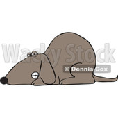 Cartoon Of A Growling Dog Laying Down - Royalty Free Vector Clipart © djart #1126790