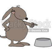 Cartoon Of An Angry Dog Pointing To An Empty Food Bowl - Royalty Free Vector Clipart © djart #1126792