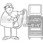 Cartoon Of An Outlined Proctologist Doctor With Colonoscopy Equipment - Royalty Free Vector Clipart © djart #1126796