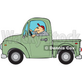 Cartoon Of A Worker Driving A Green Truck - Royalty Free Vector Clipart © djart #1127091