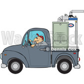 Cartoon Of A Worker Driving A Truck With A Furnace In The Bed - Royalty Free Vector Clipart © djart #1127093