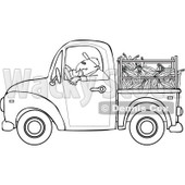 Cartoon Of An Outlined Farmer Driving A Truck With Corn In The Bed - Royalty Free Vector Clipart © djart #1127094