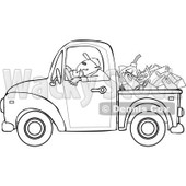 Cartoon Of An Outlined Worker Driving A Truck With Firewood Gasoline And A Saw In The Bed - Royalty Free Vector Clipart © djart #1127097