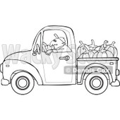 Cartoon Of An Outlined Farmer Driving A Truck With Pumpkins In The Bed - Royalty Free Vector Clipart © djart #1127098
