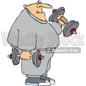 Cartoon Of A Chubby Bald Man Lifting Weights - Royalty Free Vector Clipart © djart #1127101