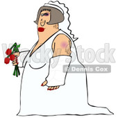 Cartoon Of A Battered Wife Bride With Bruises A Black Eye And Cast - Royalty Free Clipart © Dennis Cox #1127103