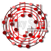 Cartoon Of A Ring Or Wreath Of Red Music Notes With Shadows - Royalty Free Clipart © djart #1127106