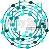 Cartoon Of A Ring Or Wreath Of Blue Music Notes - Royalty Free Vector Clipart © djart #1127107