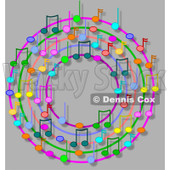 Cartoon Of A Ring Or Wreath Of Colorful Music Notes With Shadows On Gray - Royalty Free Clipart © djart #1127108