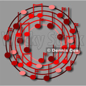 Cartoon Of A Ring Or Wreath Of Red Music Notes On Gray - Royalty Free Clipart © djart #1127109
