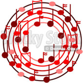 Cartoon Of A Ring Or Wreath Of Red Music Notes - Royalty Free Vector Clipart © djart #1127110