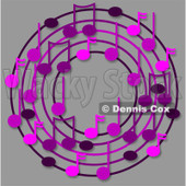 Cartoon Of A Ring Or Wreath Of Purple Music Notes On Gray - Royalty Free Clipart © djart #1127111