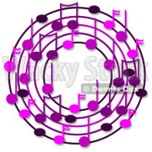 Cartoon Of A Ring Or Wreath Of Purple Music Notes With Shadows - Royalty Free Clipart © djart #1127112