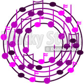 Cartoon Of A Ring Or Wreath Of Purple Music Notes - Royalty Free Vector Clipart © djart #1127113