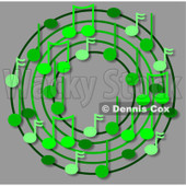 Cartoon Of A Ring Or Wreath Of Green Music Notes With Shadows Over Gray - Royalty Free Clipart © djart #1127114