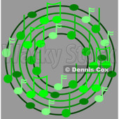Cartoon Of A Ring Or Wreath Of Green Music Notes Over Gray - Royalty Free Clipart © djart #1127115
