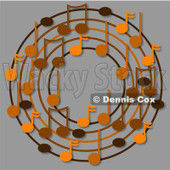 Cartoon Of A Ring Or Wreath Of Brown Music Notes On Gray - Royalty Free Clipart © djart #1127117