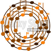 Cartoon Of A Ring Or Wreath Of Brown Music Notes - Royalty Free Vector Clipart © djart #1127119