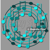 Cartoon Of A Ring Or Wreath Of Blue Music Notes Over Gray - Royalty Free Clipart © djart #1127120