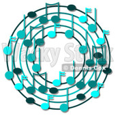 Cartoon Of A Ring Or Wreath Of Blue Music Notes With Shadows - Royalty Free Clipart © djart #1127121