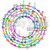 Cartoon Of A Ring Or Wreath Of Colorful Music Notes With Shadows - Royalty Free Clipart © djart #1127123
