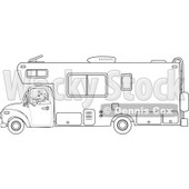 Cartoon Of An Outlined Man Driving A Motor Home RV - Royalty Free Vector Clipart © djart #1127731