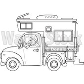 Cartoon Of An Outlined Man Driving A Pickup With A Camper - Royalty Free Vector Clipart © djart #1127733