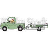 Cartoon Of A Man Driving A Pickup With A Tent Trailer - Royalty Free Vector Clipart © djart #1127735