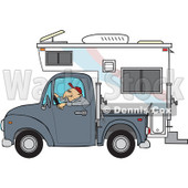 Cartoon Of A Man Driving A Pickup With A Camper - Royalty Free Vector Clipart © djart #1127736