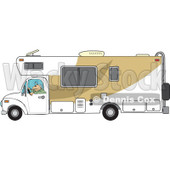 Cartoon Of A Man Driving A Motor Home RV - Royalty Free Vector Clipart © Dennis Cox #1127738