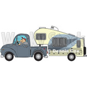 Cartoon Of A Man Driving A Pickup With A 5th Wheel Camper - Royalty Free Vector Clipart © djart #1127739