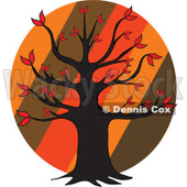 Cartoon Of An Autumn Tree Over Diagonal Stripes On A Circle - Royalty Free Vector Clipart © djart #1127740