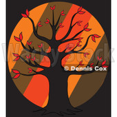 Cartoon Of An Autumn Tree Over Diagonal Stripes On Black - Royalty Free Vector Clipart © djart #1127741
