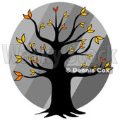 Cartoon Of An Autumn Tree Over Diagonal Gray Stripes - Royalty Free Clipart © Dennis Cox #1127742