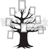 Cartoon Of A Black And White Family Tree With Picture Frames - Royalty Free Vector Clipart © djart #1127743
