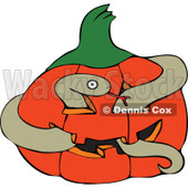 Cartoon Of A Snake In A Halloween Jackolantern Pumpkin - Royalty Free Vector Clipart © djart #1128704